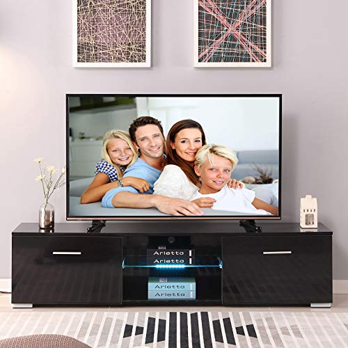 4-EVER 63'' TV Stand Cabinet LED Light 2 Drawers 1 Shelf Remote Control High Gloss Black