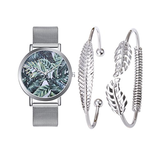 Set Stainless Steel Wrist Watch - Loweryeah Women Tropical Leaves Pattern Wrist Watch Bracelet Set Quartz Watches with Stainless Steel Strap for Mothers' Day