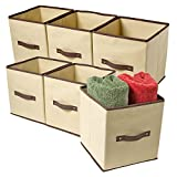 Ziz Home Set of 6 Fabric Organizer Cubes Collapsible Bins Foldable Storage Basket Containers Boxes