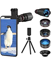 Selvim Phone Camera Lens Kit 4 in 1, 22X Telephoto Lens, 235° Fisheye Lens, 0.62X Wide Angle Lens & 25X Macro Lens, Compatible with iPhone 11 10 8 7 6 6s Plus X XS XR Samsung (4 in 1)