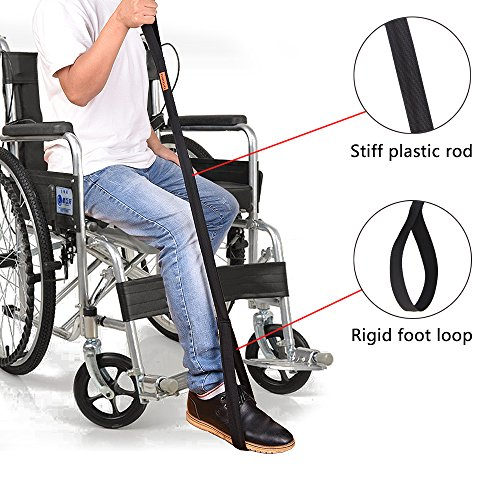 Convelife Leg Lifter Strap - Rigid Foot Loop & Hand Grip for Adult, Senior, Elderly, Handicap, Disability & Pediatrics - Long Band Mobility Aid for Car, Bed, Couch, Hip Replacement & Wheelchair (36'') by CONVELIFE
