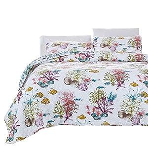 Brandream Ocean Comforter Set Nautical Bedding Set Queen Size Soft Cotton Beach Themed Bed Quilt Set 3Pcs