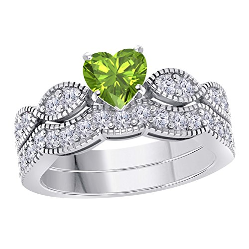 (Gems and Jewels 1.00 Ct Created Heart Shape Green Peridot & White Simulated Diamond Milgrain Weave Engagement Wedding Ring Set 14K White Gold Plated)