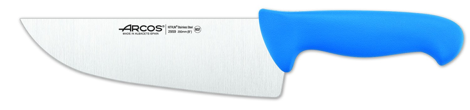 Arcos 8-Inch 200 mm 2900 Range Wide Blade Butcher Knife, Blue by ARCOS