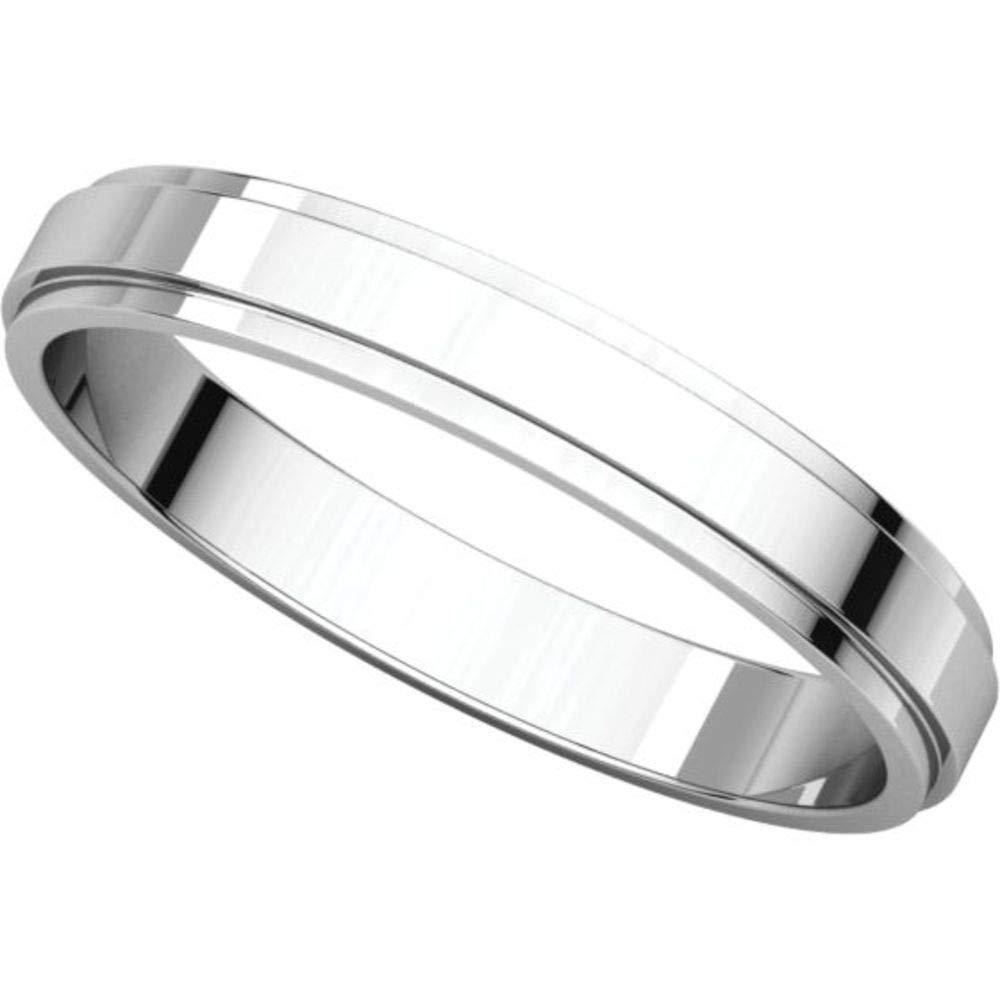Bonyak Jewelry 18k White Gold 3 mm Flat Edge Band Size 9.5