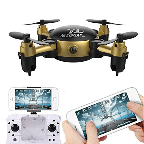 FORUU Foldable Camera RC Mini HD Wifi Quadcopter 2.4 4CH 6 Axis Gyro 3D UFO FPV RC UAV Mobile Phone Transmission Mini-pocket Aircraft Model Toys (Gold)