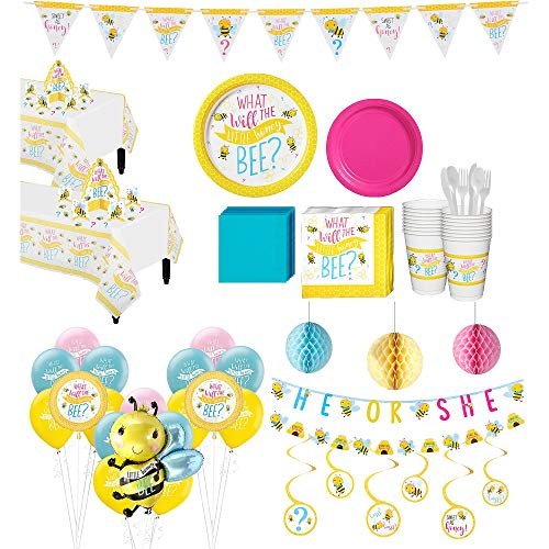 Party City Ultimate Little Honey Bee Gender Reveal Party Kit for 32 Guests, Includes Table Covers, Balloons and Banners]()
