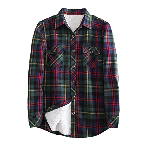 Women's Sherpa Lined Winter Flannel Plaid Shirt Jacket Green Red 4-6