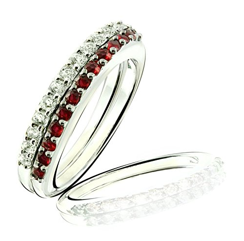 RB Gems Sterling Silver 925 Set of 2 Stack Rings Genuine GEMS (Blue Topaz, Ruby) Rhodium-Plated Finish (7, Ruby)
