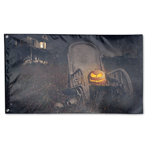 Halloween Theme Decorated House Flag Scary Halloween Night House Flag 3 X 5 Polyester Flag For Outdoor Or Indoor Use