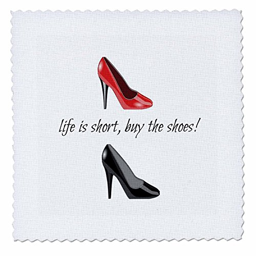 3dRose qs_172388_3 Life is Short Buy The Shoes, Picture of Shoes, Black Lettering-Quilt Square, 8 by - Short Shopping Pump