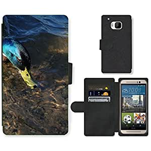 PU LEATHER case coque housse smartphone Flip bag Cover protection // M00130786 Pato Mallard Hombre Pájaro de Aves // HTC One M9