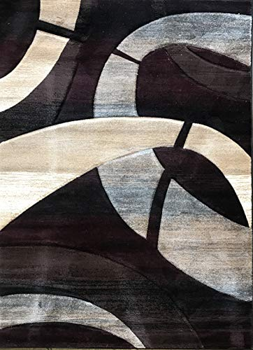 (Sculpture Modern Area Rug Burgundy Brown Black Blue & Beige Contemporary Design 248 (8 Feet X 10 Feet 6 Inch))