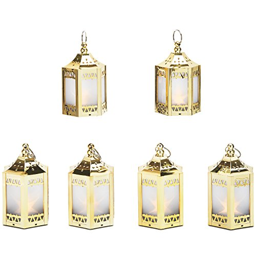 Moroccan Star - 6 Gold Mini Holographic Star Lanterns, 5