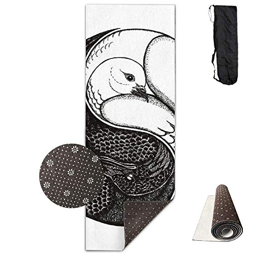 SHLEMAO Yin Yang Swan Yoga Mat - Advanced Yoga Mat - Non-Slip Lining - Easy to Clean - Latex-Free - Lightweight Durable - Long 180 Width 61cm