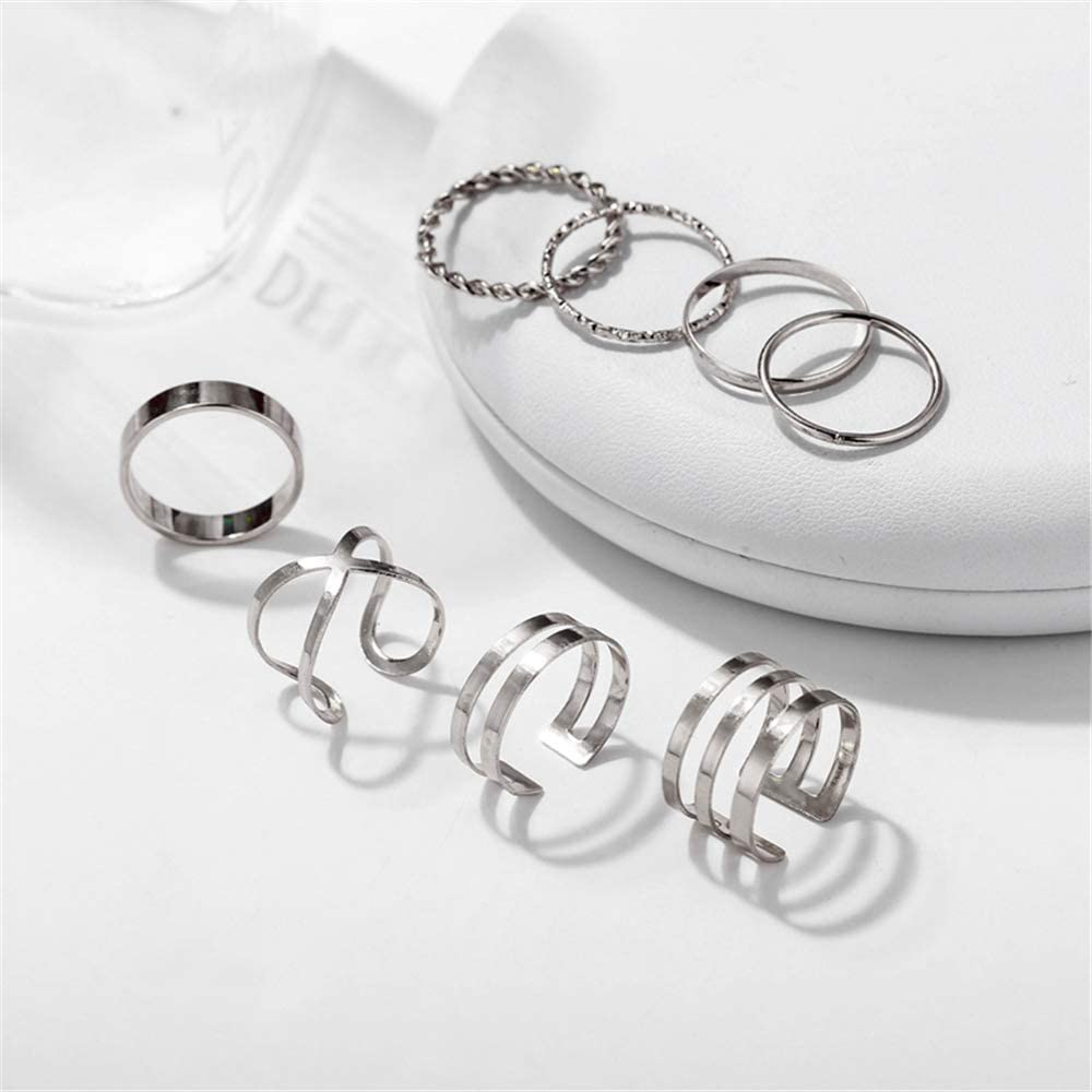 FINETOO 8 PCS Midi Ring Set Simple Knuckle Vintage Silver Finger Stackable Rings Set for Women//Girl Gifts/¡/