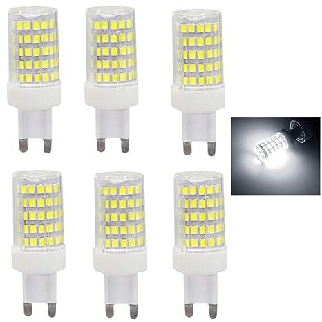6x G9 Bombillas LED 10W equivalentes a Lámparas halógenas de 80W,Blanco frío 6000K,