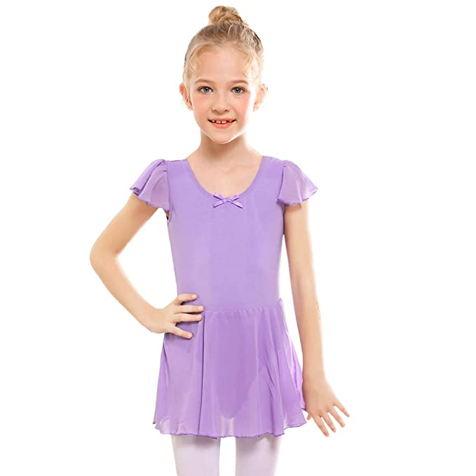 b037323894dd4 STELLE Girl's Ruffle Sleeve Skirted Leotard, Gymnastics Ballet Dance Dress  for Toddler/Little Girl