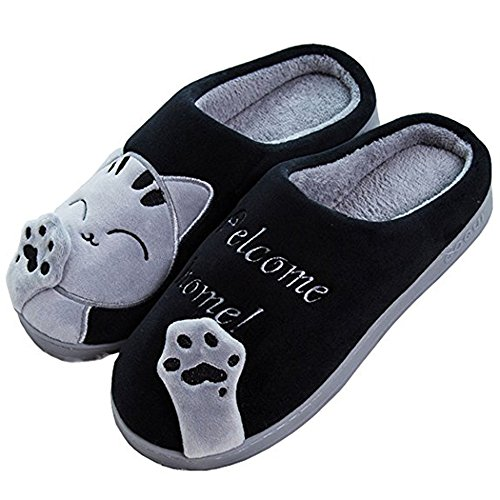 Winter Black Slippers Slippers Women Cat Adult Warm House Men Cute Indoor Plush Home SITAILE Lucky z4g6w