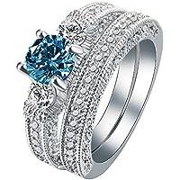 khamchanot Fashion 925 Silver Blue Topaz White Sapphire Ring Set Wedding Jewelry Size 6-10 (6)