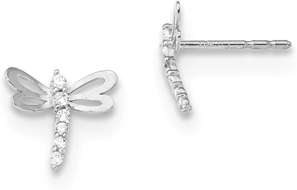 Real 14kt Madi K White Gold Polished CZ Dragonfly Post Earrings