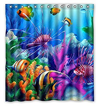 (KXMDXA Fish Refreshing Submarine World Colorful Tropical Sea Life Waterproof Polyester Bath Shower Curtain Size 66x72 Inch)