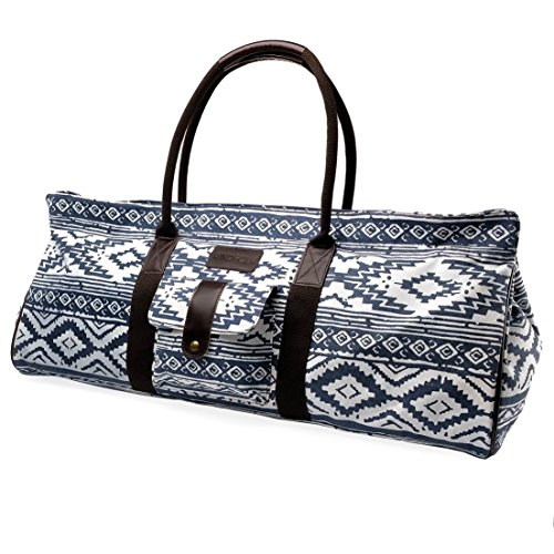 Yoga Mat Tote Bag Carrier Patterned Canvas with Pocket and Zipper (Mesa)