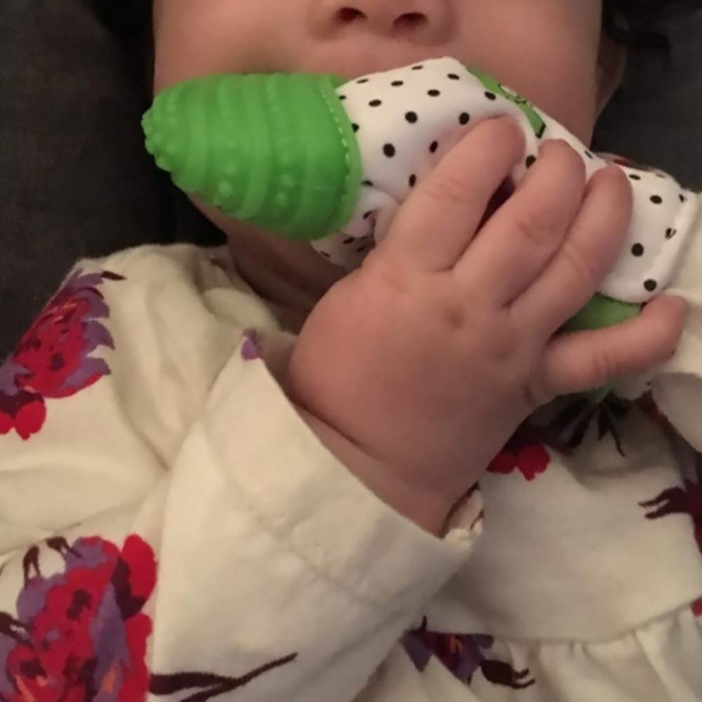 Sensory Stimulation BabyProducts DierCosy Baby Silicone Teething Mitten Baby Glove FDA-Approved Teether Toys with Adjustable Strap Stays on Infant Hands for Natural Baby Pain Relief