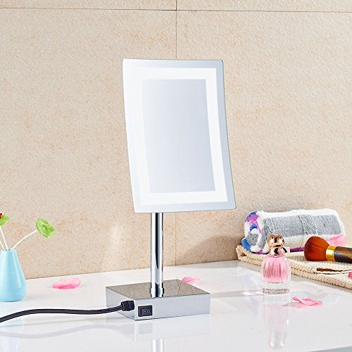 GuRun 8 inch Rectangle Tabletop LED Lighted Makeup Mirror Vanity Mirror with 3x Magnification,Chrome Finish M2239D(8in,3) by GURUN (Image #2)