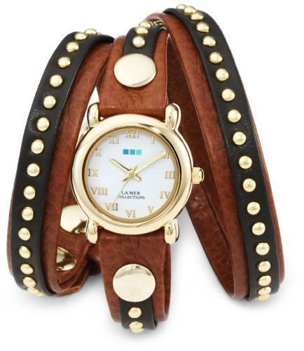 Collection Brown Leather Watch (La Mer Collections Women's LMSW3001 Gold-Tone Watch with Brown Leather Wrap-Around Band)