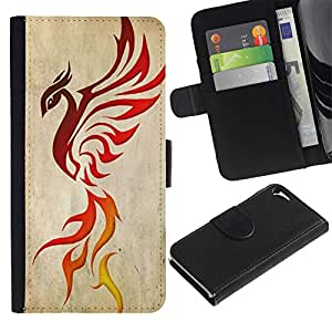 APlus Cases // Apple Iphone 5 / 5S // Fuego dragón Phoenix Pájaro Cenizas Rojo Decal // Cuero PU Delgado caso Billetera cubierta Shell Armor Funda Case Cover Wallet Credit Card