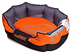 B00WFVKV4WDI4 Toughdog Performance-Max Sporty Comfort Cushioned Dog Bed, Sunkist Orange, Black, MD