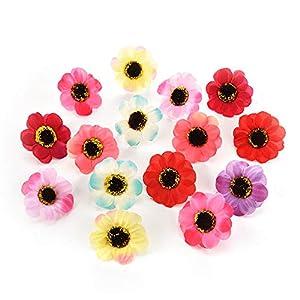 Artificial Flowe Heads Bulk for Crafts Sunflower Flower Heads Gerbera Fake Flowers for Decoration Daisy Wreath Flower Bouquet Wedding Dress Decorative Wreaths Home Decor 50PCS 4cm (Colorful) 49