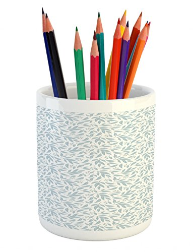 Lunarable Eucalyptus Pencil Pen Holder, Monochrome Pattern of Exotic Leaves Tropical Indigenous Hawaii Foliage, Printed Ceramic Pencil Pen Holder for Desk Office Accessory, Baby Blue and White by Lunarable