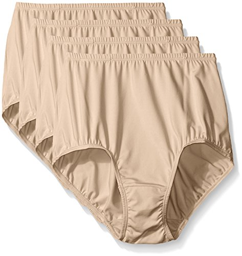 Warner's Women's 4 Pack Without A Stitch Brief, Warm Taupe, 8 -