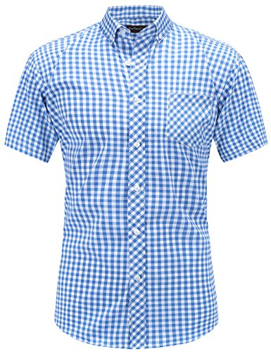 (JEETOO Men's Cotton Short Sleeve Checkered Plaid Casual Button Down)