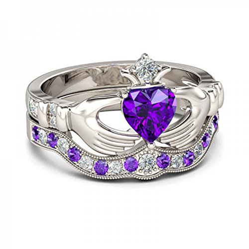 Forever Collection 14K White Gold Plated 1.00ct Created Heart Cut Amethyst & Round White CZ Engagement Claddagh Ring Set Alloy