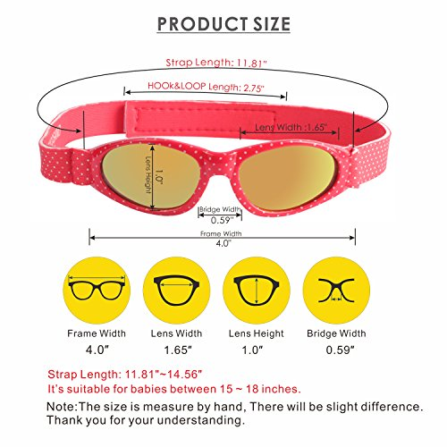 Baby Navigator Sunglasses with UV400 Lens and Adjustable Neoprene Straps & Exciting colors Age: 0-12months. (Strawberry Red with Red Revo) by COCOSAND (Image #5)