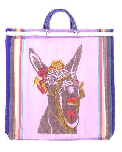Burro Mexican Mesh Market Bag (Violet) - Bag Woven Market