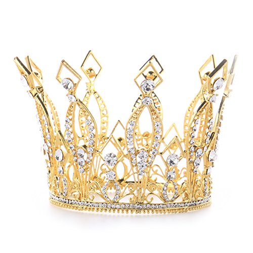 [FUMUD Imperial Medieval 3.9inch Crowns Full Rould Gold/Silver Tiaras For Women Clear Crystal Pageant Party Costumes Diadem Hair Jewelry (New gold) by FUMUD] (Beauty Pageant Queen Costume)