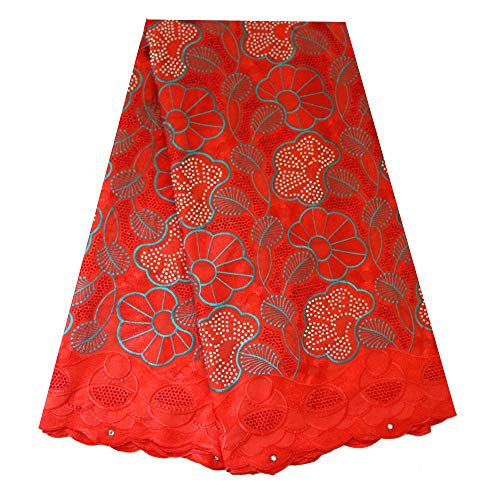 African Swiss Voile lace Fabric Nigeria lace French lace African Cotton Fabric 5 Yards for Wedding Party(Peach)