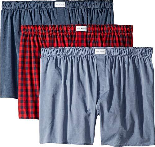 (Tommy Hilfiger Men's 3 Pack Cotton Classics Woven Boxers, Brick, Medium)