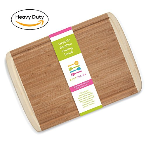 Best Organic Bamboo Wood Cutting Board, Premium Quality Heavy Duty Wooden Chopping, Slicing Board Antibacterial, Chemical-Free, Perfect for Your Kitchen Easy Clean Large Size 18 x 12.5 x 0.7 Inches