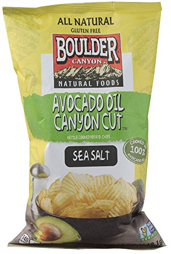 Boulder Canyon Authentic Foods Avocado Oil Canyon Cut Kettle Cooked Potato Chips Sea Salt -- 5.25 oz (Pack