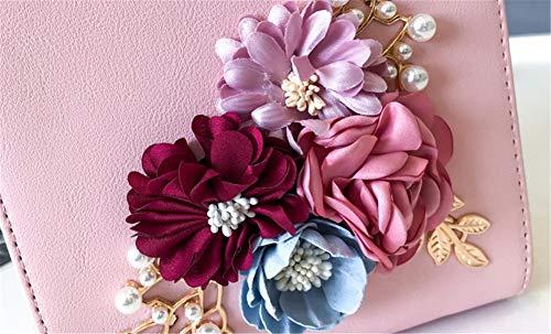 JIUSHIGUANG Mode Cuir Épaule Personnalité Fleur Sacs en PU Portés Main Unique Paquet Douce Femme Boîte À Femme Sac Or Main Diagonale rr6n8gF