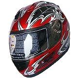 Motorcycle Street Sport Bike Helmet Full Face Helmet F08 (Red, M)