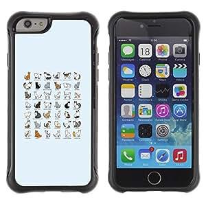 ZETECH CASES / Apple Iphone 6 PLUS 5.5 / CAT SPECIES CHART ALL BREEDS LIST KITTENS / gato especie gráfico todos razas lista gatitos / Robusto Caso Carcaso Billetera Shell Armor Funda Case Cov