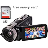 Valentines Day gift Camcorder full HD 1080P 24MP 16X Digital Zoom Infrared night Video Camcorders with 270 Degree Rotation Screen night shoot Free 16G memory card