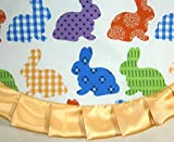 """Tabletop Easter Tree Skirt, 24"""" Bright Rabbits with Yellow Ruffle"""