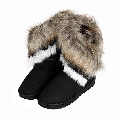 TPulling Herbst Und Winter Frühling Modelle Schuhe Mode Damen In Der Röhre Fuchspelz Weibliche Baumwollstiefel Wärme Outdoor Booties Ankle Lässige Schuhe Martin Stiefe Schwarz